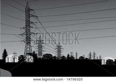 Ilustración con el paisaje de la línea de alta tensión