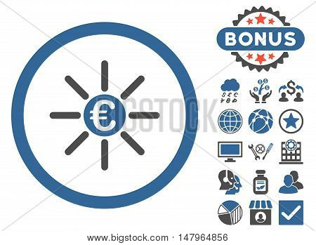 Euro Distribution icon with bonus pictogram. Vector illustration style is flat iconic bicolor symbols, cobalt and gray colors, white background.