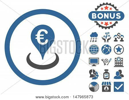 Euro Location icon with bonus design elements. Vector illustration style is flat iconic bicolor symbols, cobalt and gray colors, white background.