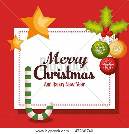 card merry christmas balls and candy cane design vector illustration eps 10