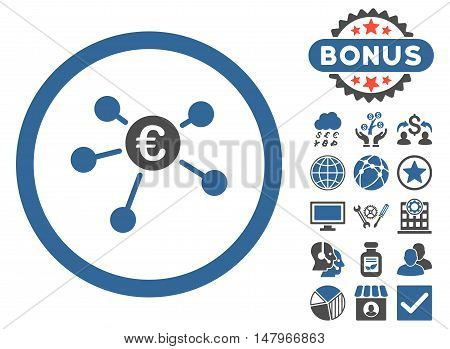 Euro Payments icon with bonus pictogram. Vector illustration style is flat iconic bicolor symbols, cobalt and gray colors, white background.