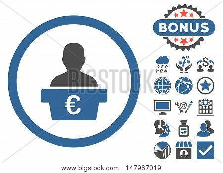 Euro Politician icon with bonus images. Vector illustration style is flat iconic bicolor symbols, cobalt and gray colors, white background.