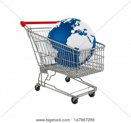 Shopping Cart with Earth Globe isolated on white background. 3D render