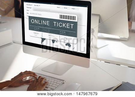 Booking Ticket Online Flight Travel Concept