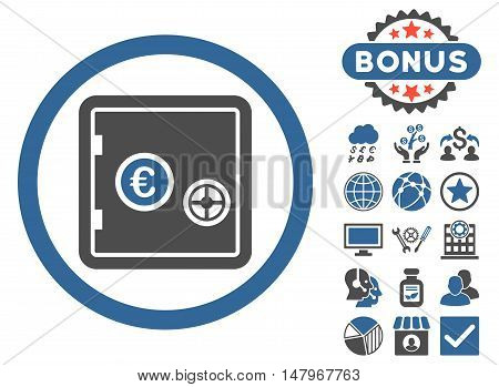Euro Safe icon with bonus design elements. Vector illustration style is flat iconic bicolor symbols, cobalt and gray colors, white background.
