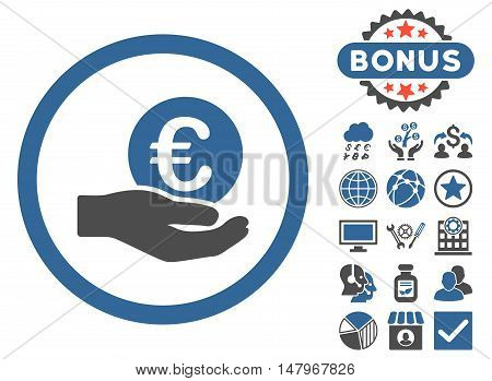 Euro Salary Hand icon with bonus pictogram. Vector illustration style is flat iconic bicolor symbols, cobalt and gray colors, white background.