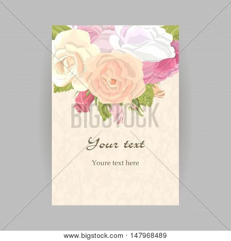 Romantic vintage greeting card holiday to wedding, birthday, valentines day, vector illustration, delicate flower wreath of roses, buds, leaves, on grunge background