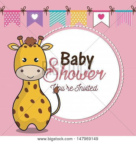 invitation baby shower card with giraffe desing vector illustration eps 10