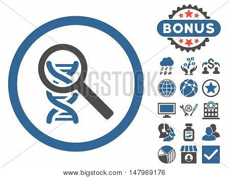 Explore DNA icon with bonus design elements. Vector illustration style is flat iconic bicolor symbols, cobalt and gray colors, white background.