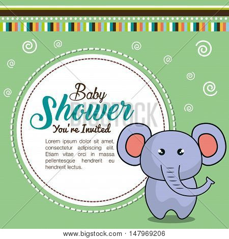 invitation baby shower card with elephant desing vector illustration eps 10