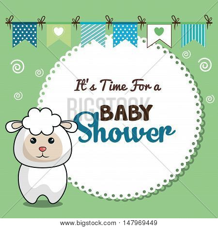 invitation baby shower card with sheep desing vector illustration eps 10