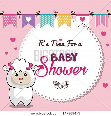invitation baby shower card pink with sheep desing vector illustration eps 10