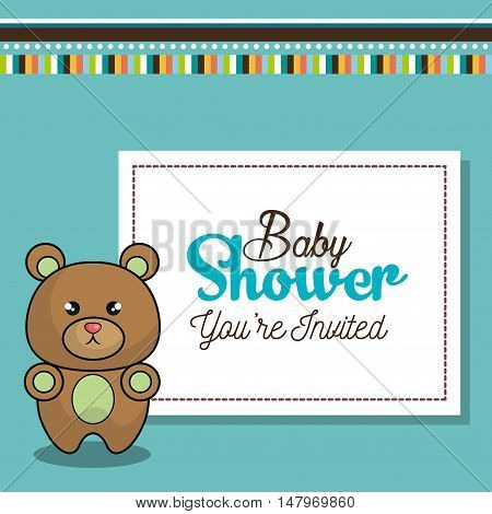 invitation baby shower card with bear desing vector illustration eps 10