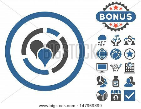 Geo Diagram icon with bonus images. Vector illustration style is flat iconic bicolor symbols, cobalt and gray colors, white background.