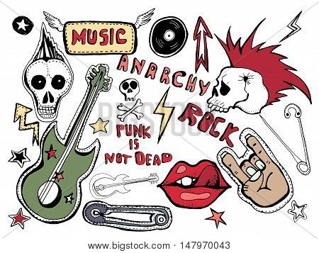 Cute embroidery patches and stickers collection. Punk is not dead. Hand drawn vector sketches. Lips, skull, pins, guitar,stars,arrows, hand, rock symbols, hand written tag lines.