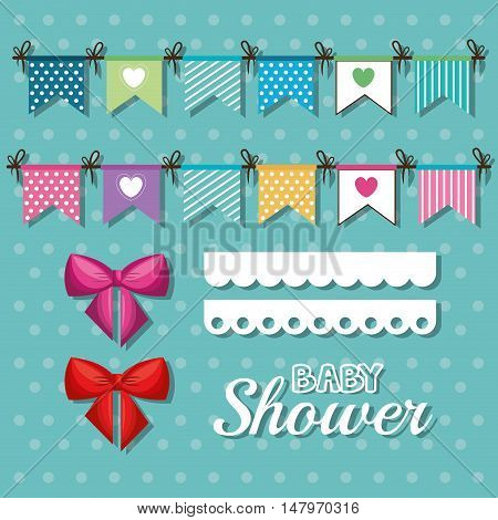 invitation baby shower card with pennants desing vector illustration eps 10