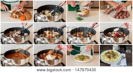 A Step By Step Collage Of Making Pasta With  Meatballs And Mushrooms