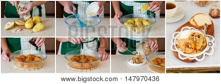 A Step By Step Collage Of Making Roast Pears With Granola