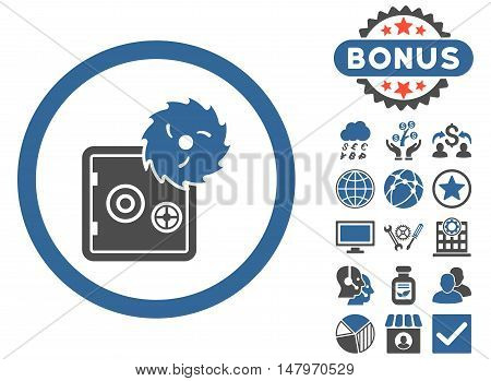 Hacking Theft icon with bonus elements. Vector illustration style is flat iconic bicolor symbols, cobalt and gray colors, white background.