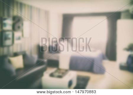 Blurred background modern classic bedroom with sofa
