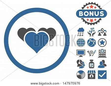 Heart Favourites icon with bonus pictogram. Vector illustration style is flat iconic bicolor symbols, cobalt and gray colors, white background.
