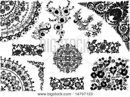 floral ornament elements collection isolated on white background