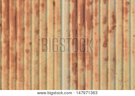 Old rusty ridge galvanized plate background exterior