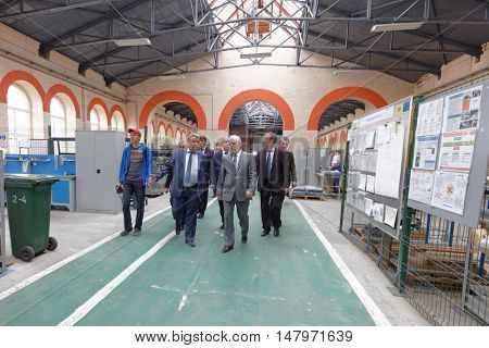 ST. PETERSBURG, RUSSIA - AUGUST 25, 2016: Vice-governor of St. Petersburg Igor Divinsky in the Oktyabrsky electric railway car repair plant. The plant was founded in 1826