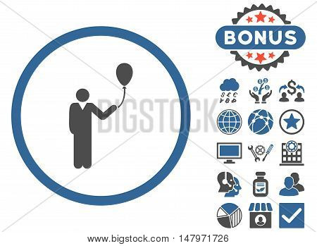 Holiday icon with bonus images. Vector illustration style is flat iconic bicolor symbols, cobalt and gray colors, white background.