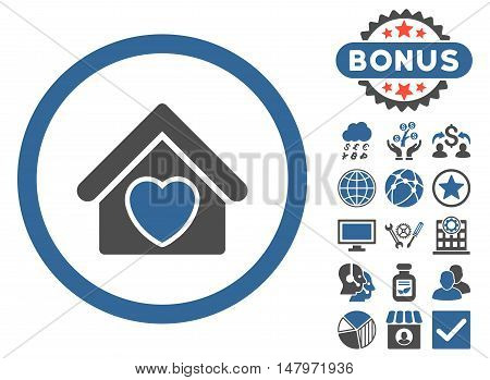 Hospice icon with bonus design elements. Vector illustration style is flat iconic bicolor symbols, cobalt and gray colors, white background.