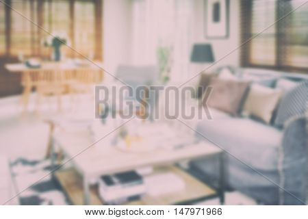 Defocus background interior living room with dining table