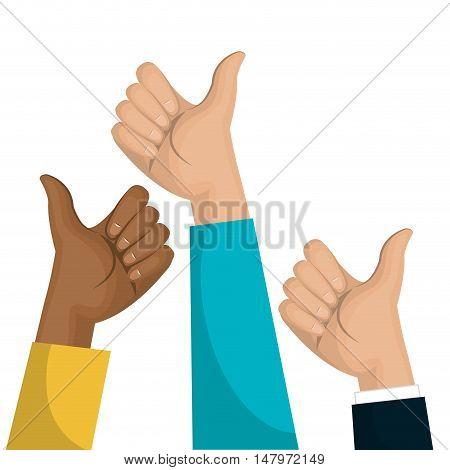 symbol hand like multicultural team design vector illustration eps 10