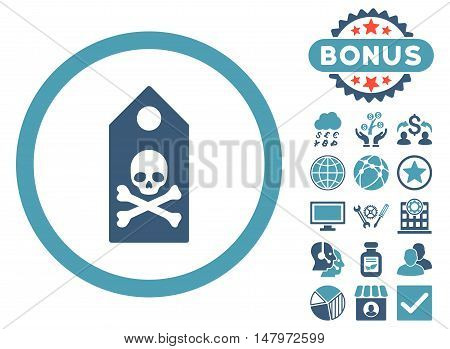 Death Mark icon with bonus design elements. Vector illustration style is flat iconic bicolor symbols, cyan and blue colors, white background.