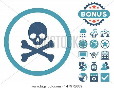Death icon with bonus pictogram. Vector illustration style is flat iconic bicolor symbols, cyan and blue colors, white background.