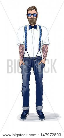 Man in hipster style - vector illustration