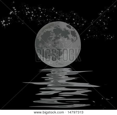 illustration with full moon, stars and its reflection