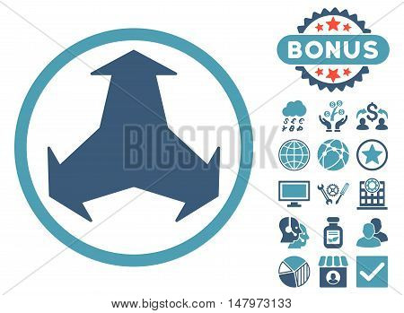 Directions icon with bonus design elements. Vector illustration style is flat iconic bicolor symbols, cyan and blue colors, white background.