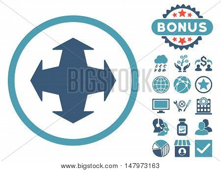 Directions icon with bonus pictogram. Vector illustration style is flat iconic bicolor symbols, cyan and blue colors, white background.