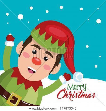 card elf happy snow design vector illustration eps 10