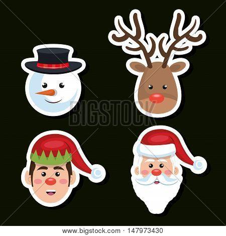 set faces santa reindeer snowman and elf christmas vector illustration eps 10