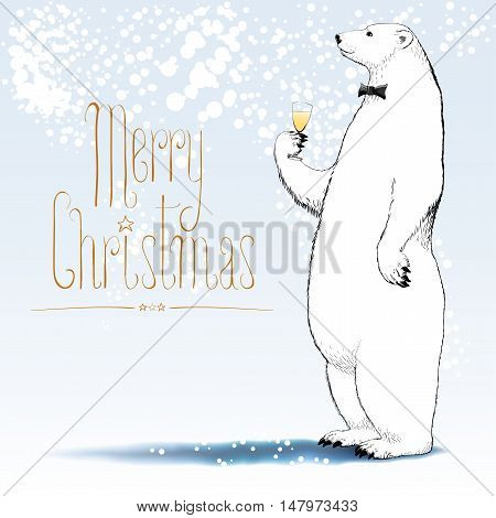 Merry Christmas vector greeting card. Polar bear with bowtie character drinking glass of champagne funny nonstandard illustration. Design element with Merry Christmas hand drawn text