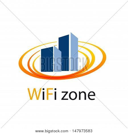 Vector sign WiFi Zone in the city