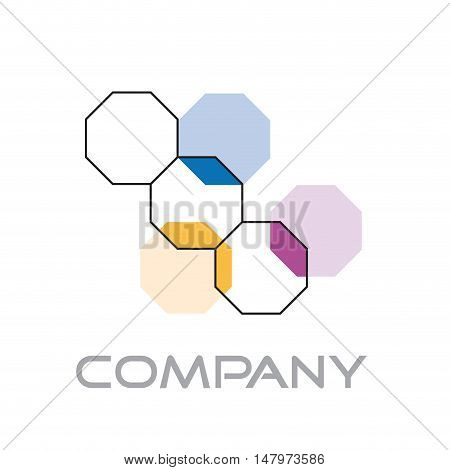 Vector sign biotechnology, octagons isolated in white