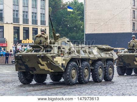 KYIV, UKRAINE - AUGUST 24, 2016: Military parade in Kyiv, dedicated to the Independence Day of Ukraine. Ukraine celebrates 25th anniversary of Independence