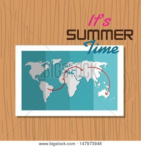 postcard summer vacation map vector illustration eps 10