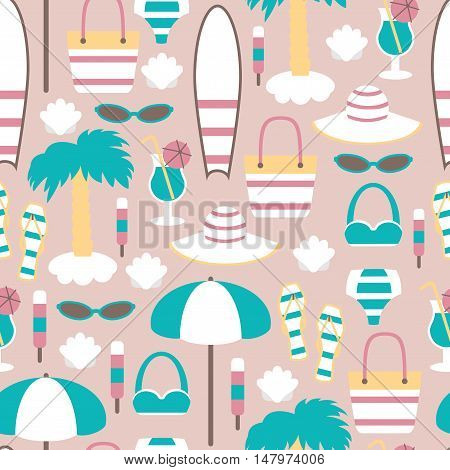 Summer Vacation Seamless Background / Seamless Pattern with Beach Elements