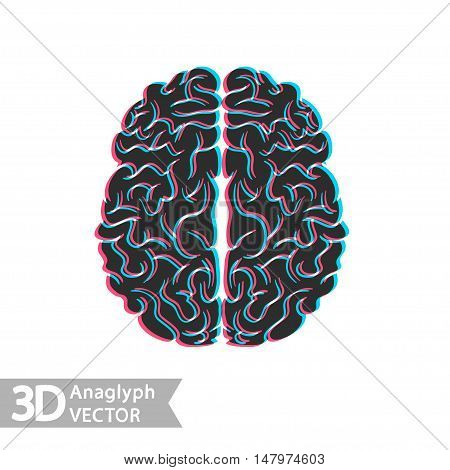 3D stereo illustration of brain. Vector flat logo or icon isolated on white background