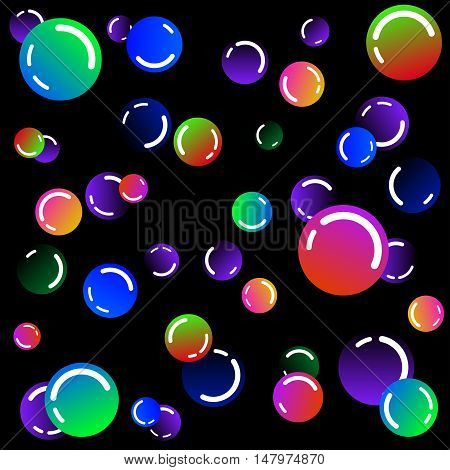 Shining neon rainbow color bright soap bubbles on black background