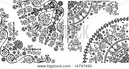 illustration with black quadrants collection on white background