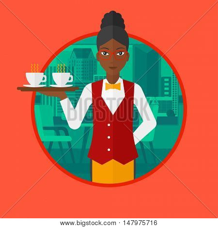 An african-american waiteress holding a tray with cups of tea or coffee. Young waitress with tray in a coffee shop. Vector flat design illustration in the circle isolated on background.